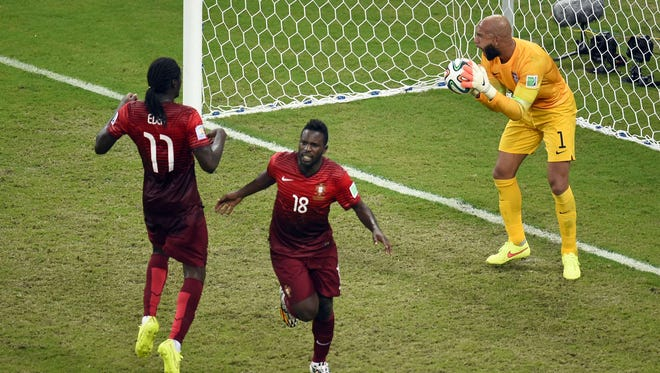 U.S. goalkeeper Tim Howard reacts after Portugal's forward Silvestre Varela (18) scored during a Group G soccer match between USA and Portugal at the Amazonia Arena in Manaus during the 2014 FIFA World Cup on June 22, 2014.
