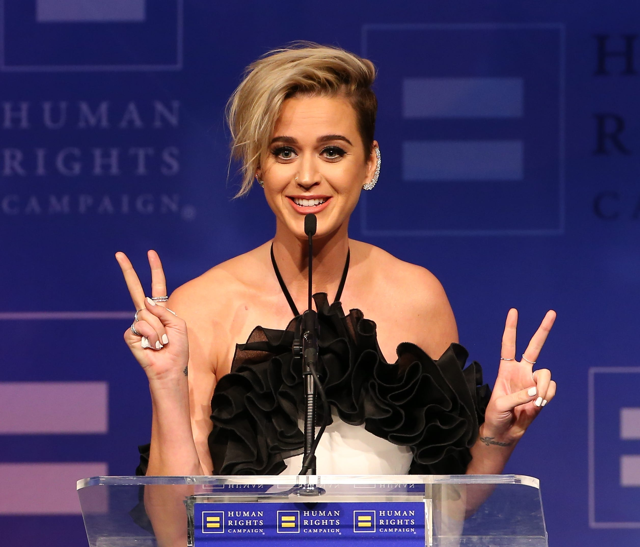 Katy Perry takes the podium at Human Rights Campaign's Los Angeles gala.