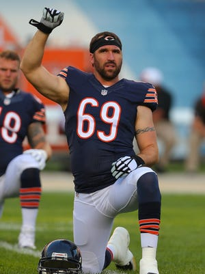 Chicago Bears linebacker Jared Allen (69) warms up prior to a game against the Cleveland Browns at Soldier Field.