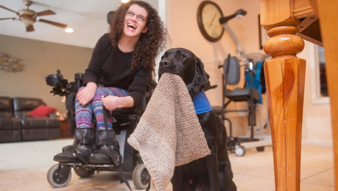 Nicole Panelli, 22, who was born with cerebral palsy, sits by her assistance dog Soho, who helpfully holds Panelli's scarf.