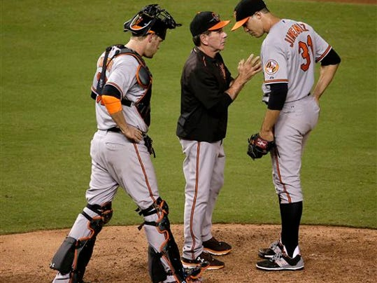 Baltimore Orioles pitching coach Dave Wallace, center, talks to starting pitcher Ubaldo Jimenez, right, during the sixth inning against the Kansas City Royals on Monday