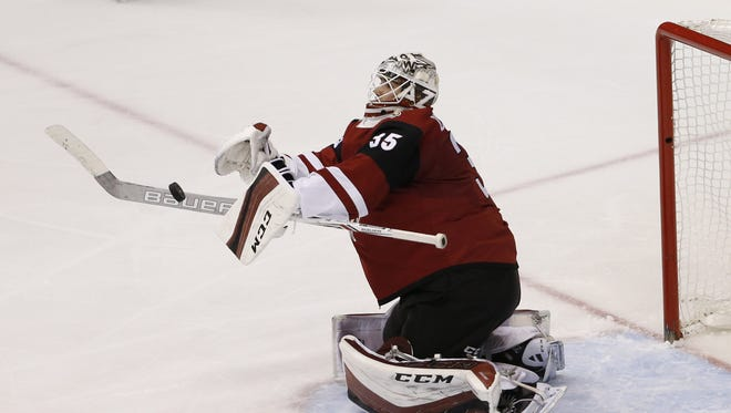 Coyotes goalie Louis Domingue has been named the NHL's rookie of the month for January.