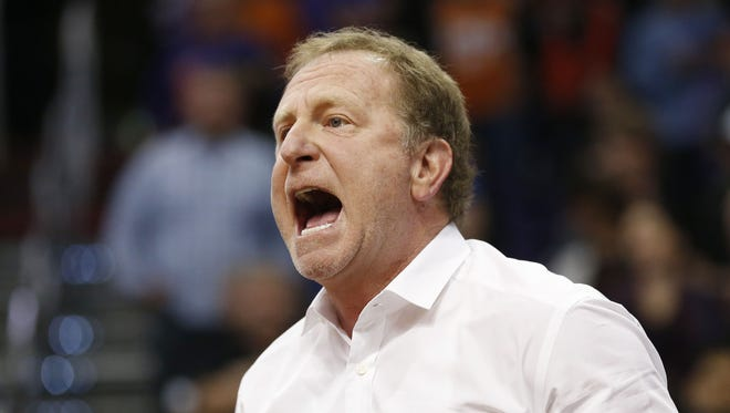Phoenix Suns owner Robert Sarver yells during the fourth quarter against the Orlando Magic during NBA action at Talking Stick Resort Arena in Phoenix December 9, 2015.