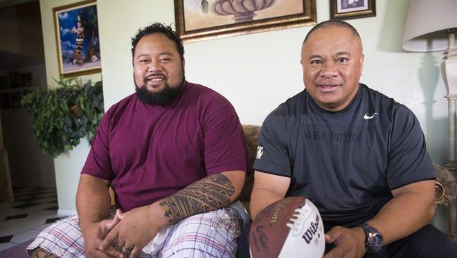 Deuce Lutui (left) and Kapi Sikahema coach together at Mesa High.