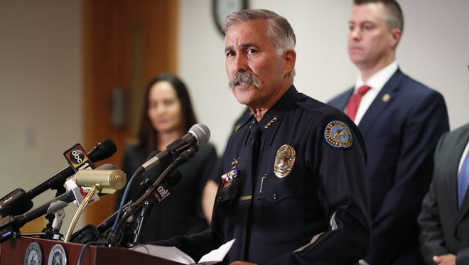 Scottsdale Police Chief Alan Rodbell speaks during a joint press conference at the Scottsdale Police Department Headquarters June 4, 2018.