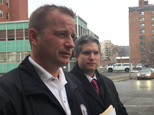 Broome County District Attorney Steve Cornwell, left, and Assistant District Attorney Joshua Shapiro speak with reporters Friday after Ariana Edwards pleaded guilty to murder.