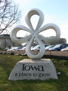 """The Iowa Capitol Planning Commission has approved plans to remove the """"Iowa ... A Place to Grow"""" monument on Southeast 14th Street near East Grand Avenue, where it has stood since 1984. The slogan and cloverleaf figure are well-known to  many Iowans."""