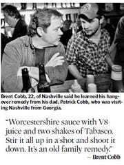 Country artist Brent Cobb, shares his family's hangover cure in the Jan. 1, 2009 Tennessean.