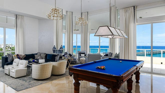 Just sold for a recorded $6.5 million in Palm Beach, Penthouse 4 at Bellaria captures views of the Lake Worth Pier and the Atlantic Ocean. Hedge-fund manager Steven Schonfeld and wife Brooke sold the condo at 3000 S. Ocean Blvd. through a trust in his name. Last year, the Schonfelds used a different trust to buy an estate at 1415 S. Ocean Blvd in a record-setting Palm Beach deal recorded at $105 million.