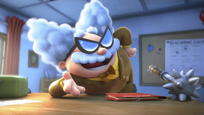 "Professor Poopypants, voiced by Nick Kroll, appears in a scene from ""Captain Underpants: The First Epic Movie."""