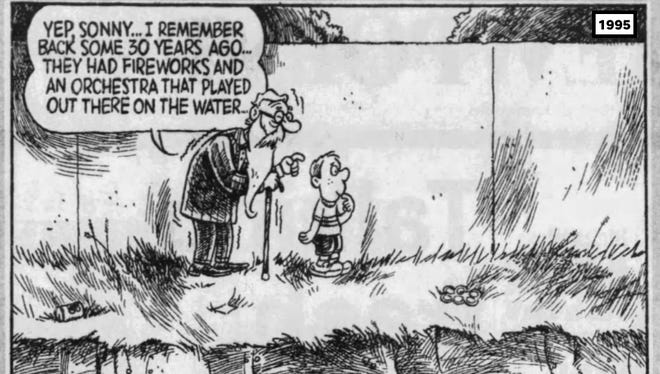 This 1995 Press & Sun-Bulletin editorial cartoon by John Marshall lamented the loss of Pops on the River.