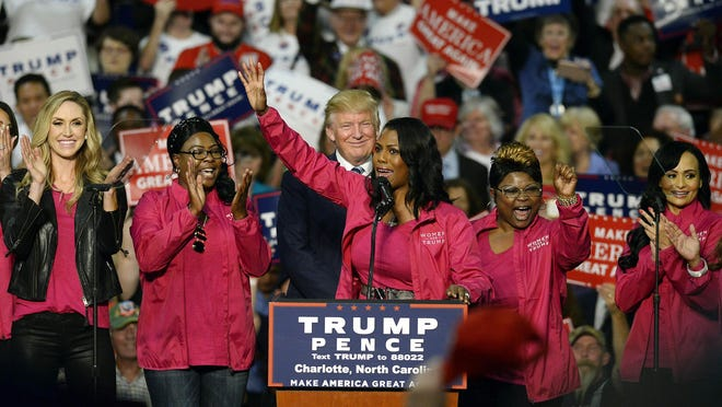 Reality TV personality Omarosa Manigault and other Women for Trump members endorse Republican presidential candidate Donald Trump during a campaign rally at the Charlotte Convention Center in Charlotte, N.C., on Friday, Oct. 14, 2016. Trump lashed out on Monday morning at former White House staffer Manigault Newman in the wake of her tell-all book, in which she called him narcissistic and racist. (David T. Foster III/Charlotte Observer/TNS)