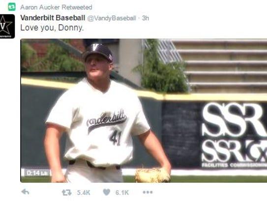 Aaron Aucker retweeted Vanderbilt's video tribute.
