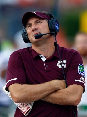 Mississippi State head coach Dan Mullen reacts to a call during the first half of an NCAA college football game against Auburn, Saturday, Sept. 30, 2017, in Auburn, Ala. (AP Photo/Butch Dill)
