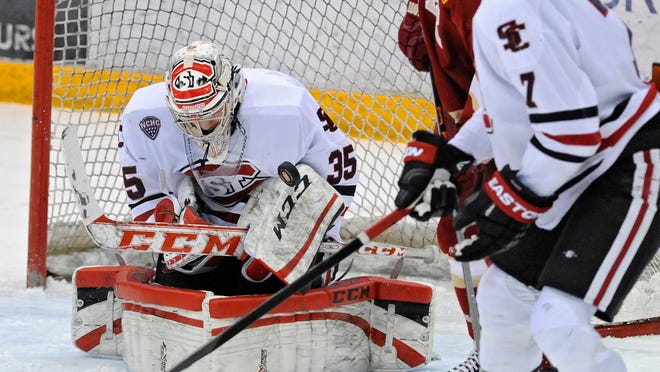 St. Cloud State goaltender Charlie Lindgren makes a save during Saturday's game at the Herb Brooks National Hockey Center in St. Cloud.