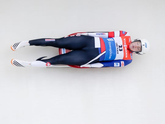Summer Britcher, of Glen Rock, competes in the women's luge World Cup race in Lake Placid in this 2015 file photo.