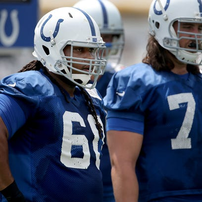 Indianapolis Colts guard Lance Louis  (60) during their