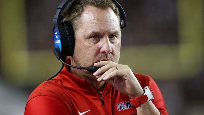 Mississippi Rebels head coach Hugh Freeze during the game against the Texas A&M Aggies at Kyle Field. Mandatory Credit: Troy Taormina-USA TODAY Sports