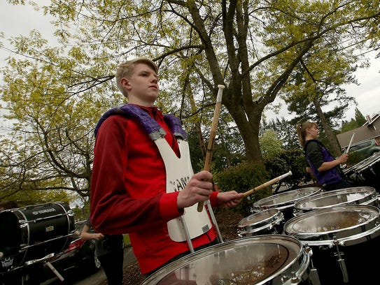 Percussionist Seth English, 16,  keeps the beat while