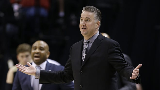 Purdue Boilermakers head coach Matt Painter in the second half of their Big Ten Men's Basketball Tournament championship game Sunday, Mar 13, 2016, afternoon at Bankers Life Fieldhouse. The Purdue Boilermakers lost to the Michigan State Spartans 66-62.