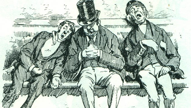 A drawing depicts drunks on a bench.