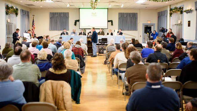 A large public crowd gathers for the Hellam Township Board of Supervisors meeting at the Hellam Fire Company Station 21 community hall to discuss a proposal for a medical marijuana manufacturing facility on Thursday, Feb. 2, 2017.