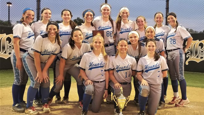 Northern Burlington's softball team celebrates the Burlington County League Tournament championship after a 3-0 win in the final over Rancocas Valley on Thursday at Bordentown High School.