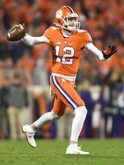 Clemson quarterback Nick Schuessler (12) throws a pass against South Carolina on Nov. 26, 2016.