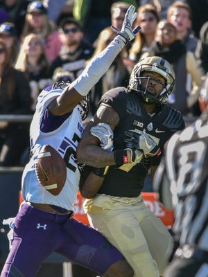 Purdue's DeAngelo Yancey can't make the catch during Northwestern's win 45-17 at Purdue on Saturday November 12, 2016.