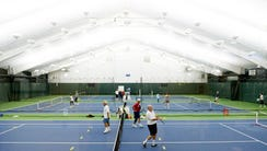 Pickleball players at the Tenafly Racquet Club. The