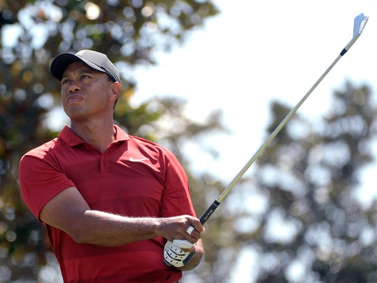 Tiger Woods watches his tee shot on the second hole during the final round of the Arnold Palmer Invitational golf tournament Sunday, March 18, 2018, in Orlando, Fla. (AP Photo/Phelan M. Ebenhack)
