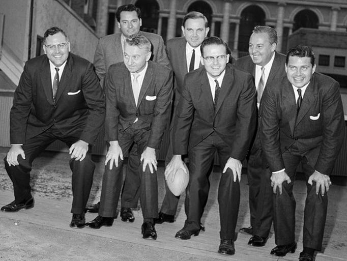 "This Oct. 28, 1959, file photo, shows representatives of the American Football League posed in New York City. Posing in the front row from left are, Robert L. Howsam, Denver, Colo.; Max Winter, Minneapolis-St. Paul, Minn.; Lamar Hunt, Dallas, Texas, the League's founder; and K.S. ""Bud"" Adams Jr., Houston, Texas. In the back row from left are, Barron Hilton, Los Angeles; Ralph C. Wilson Jr., Buffalo, N.Y.; and Harry Wismer, New York. K.S. ""Bud""Adams Jr., has died in his Houston home. He was 90. The team announced Monday, Oct. 21, 2013, that Adams had died, saying he ""passed away peacefully from natural causes."""