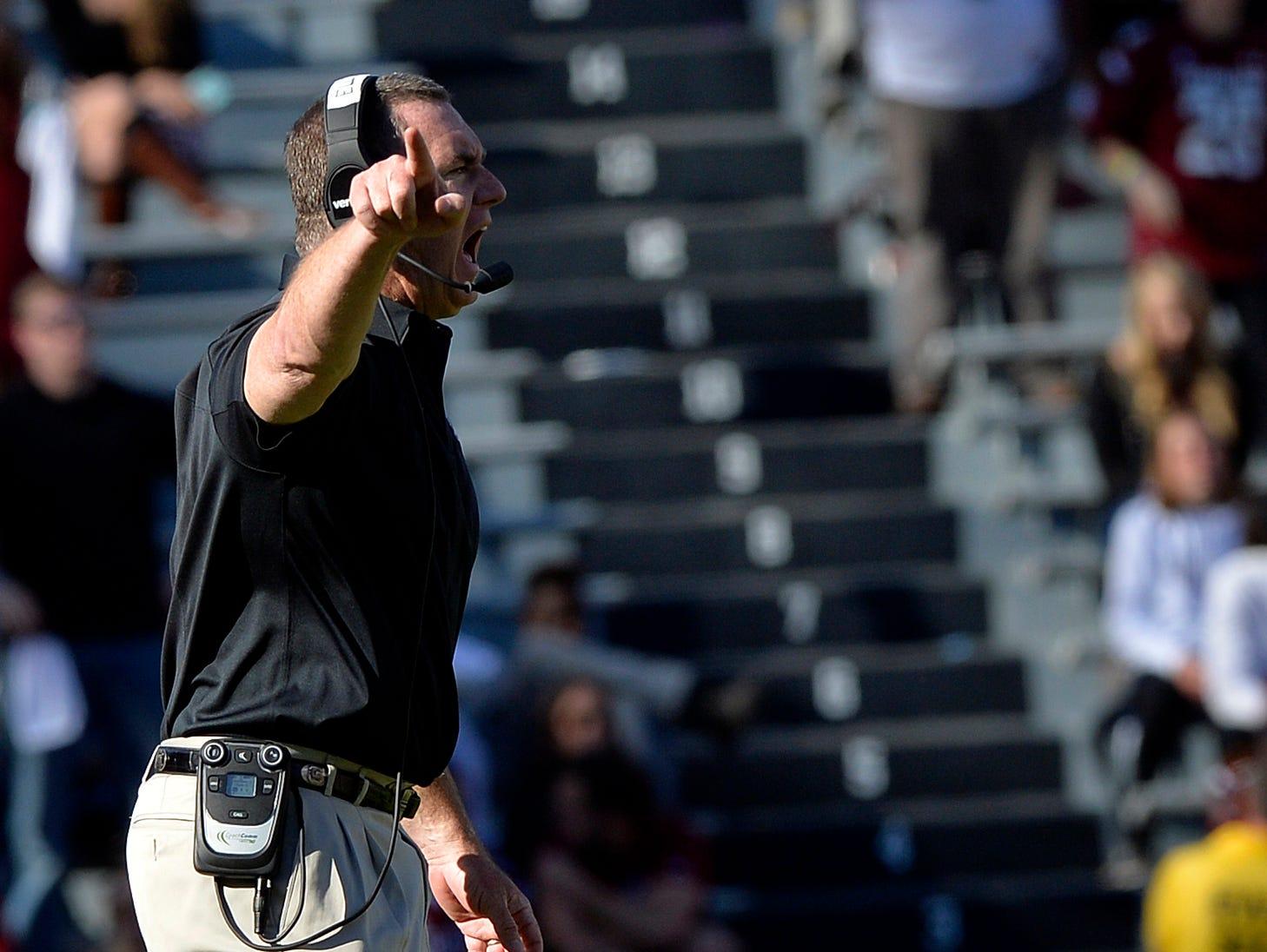 USC interim head football coach Shawn Elliott gets after the defense against Florida at Williams-Brice Stadium in Columbia on Nov. 14, 2015.