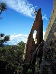 Phil Watts climbs the Needles in South Dakota's Black Hills