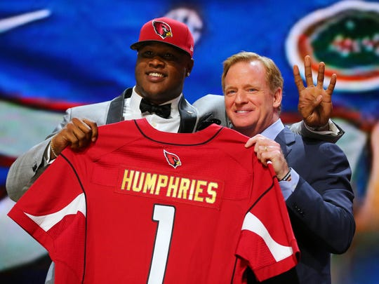 D.J. Humphries (Florida) is greeted by NFL commissioner