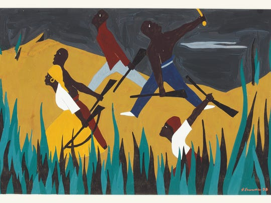 Jacob Lawrence's No. 38 in his Toussaint Louverture