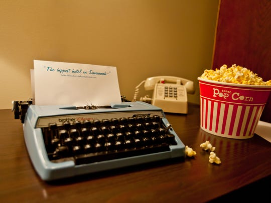 typewriter with popcorn