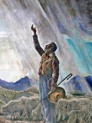 Peter Hurd's fresco man with rain.