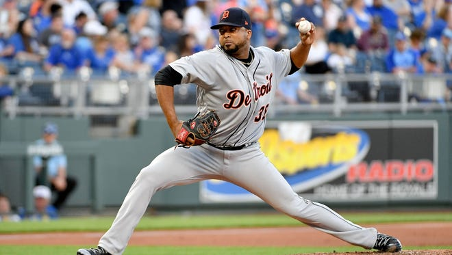 Detroit Tigers starting pitcher Francisco Liriano (38) delivers a pitch in the first inning against the Kansas City Royals at Kauffman Stadium on May 4, 2018.