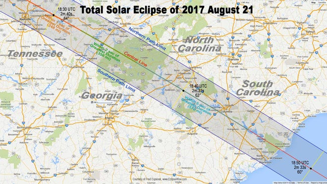 Anderson County is in the path of total solar eclipse in August