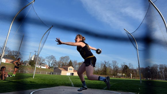 Red Lion's Madisen Kling picked up a pair of victories at the recent Arctic Blast Invitational and bested her own meet record in the process. Her toss of 141-feet, 4-inches set a new record in the discus and beat her toss of 136-06 last year at the same invite. DISPATCH FILE PHOTO