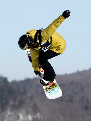 Spencer O'Brien (CAN) during her first jump at the slopestyle women's qualifications at the FIS World Championships.