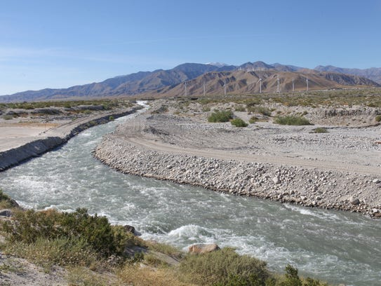 Water from the Colorado River flows toward a series