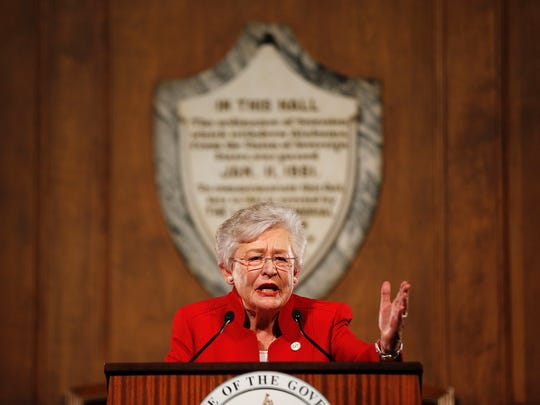 "In this file photo, Alabama Gov. Kay Ivey gives the annual State of the State address at the Capitol, in Montgomery, Ala. Speaking to supporters Ivey argued that Alabama is ""stronger"" than it was a year ago. Ivey is seeking to win the office after becoming governor last year when her predecessor resigned in a scandal. (AP/Brynn Anderson)"
