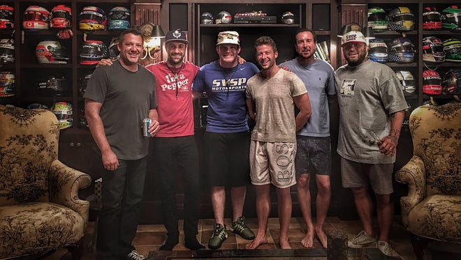Kurt Busch, Tony Stewart, Marco Andretti, James Hinchcliffe and PJ Chesson at Andretti's house