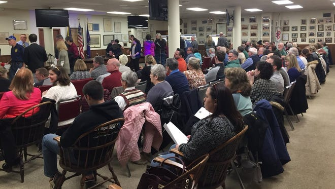 Members of the Hanover community file in and find seats at a public meeting in April 2018 introducing the borough's streetscape project to improve the downtown district.