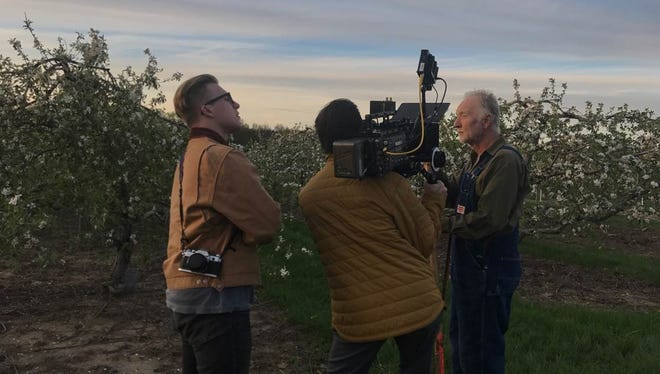"""Luke Jaden, left, and actor Tobin Bell, right, during the May 2017 shooting the Jaden's film """"My Pretty Pony"""" in Michigan."""
