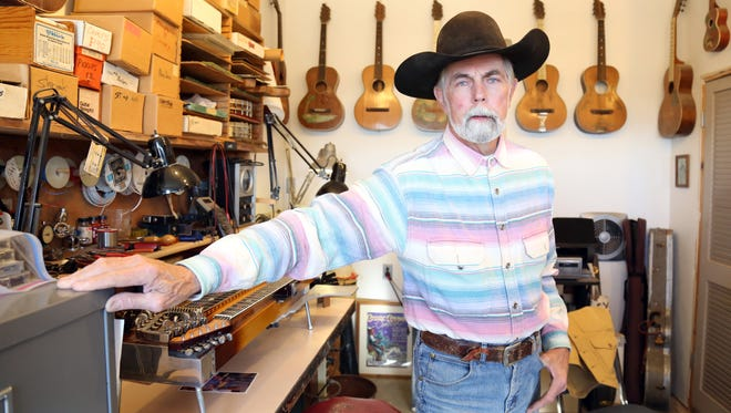 Michael Stevens stands in his Alpine guitar workshop. Stevens is one of the founders of the Fender Custom Shop, which is celebrating its 30th anniversary.