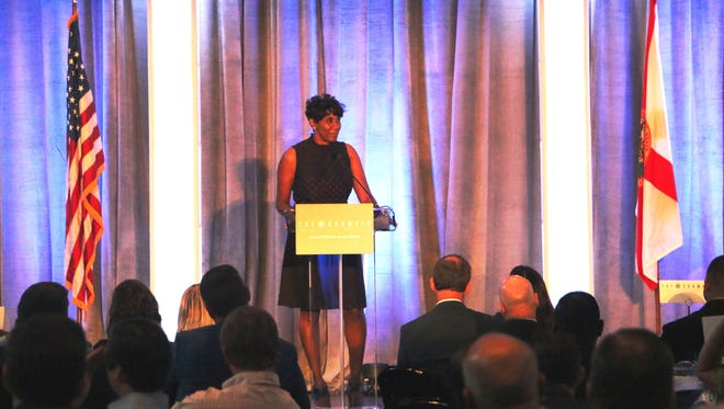 Heidi Otway, incoming chairman for the Tallahassee Chamber of Commerce, offered remarks during the annual breakfast meeting.