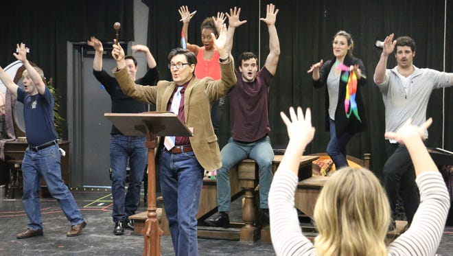 "The cast of ""The Mystery of Edwin Drood"" rehearse for the musical that opened Jan. 16 and continues through Feb. 4 on the Waxlax Stage at Riverside Theatre. Audience members are seated cabaret style and help decide the ending."